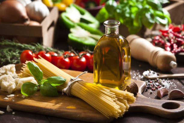 Ingredient for cooking italian spaguetti stock photo