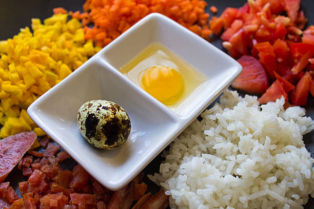 ingredient of fried rice - omg stock photos and pictures