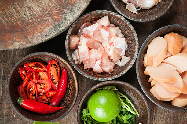 ingredient of raw food in small wood cup stock photo