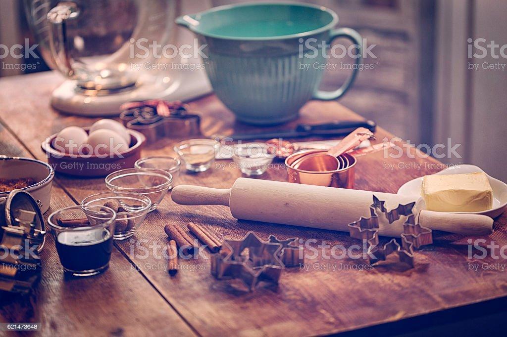 Ingredients and Baking Utensils for Baking Christmas Cookies – Foto