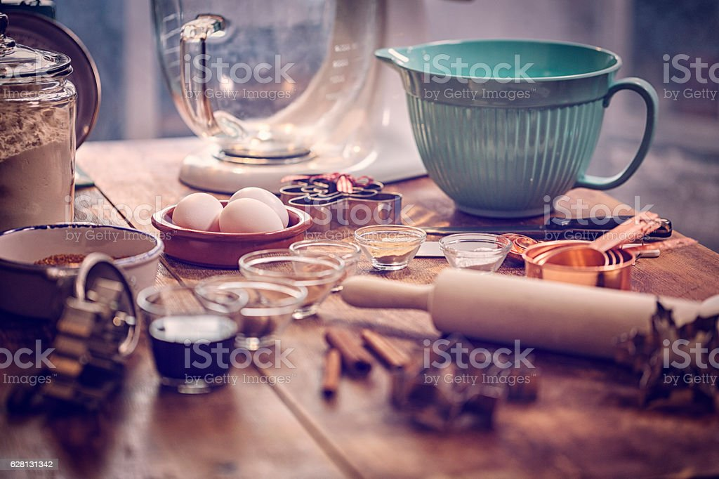 Ingredients and Baking Utensils for Baking Christmas Cookies stock photo