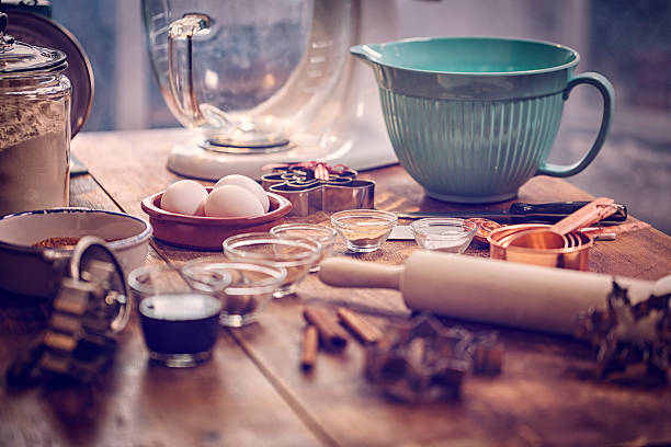 ingredients and baking utensils for baking christmas cookies - baking stock photos and pictures