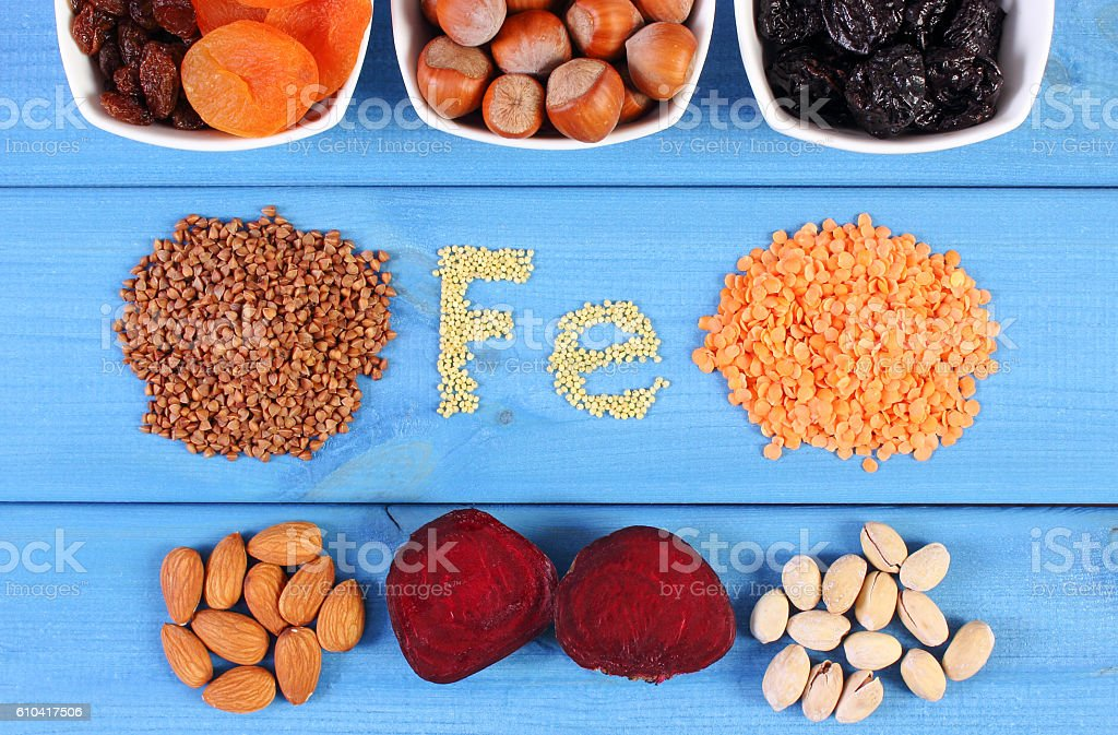 Ingredients and products containing ferrum and dietary fiber, healthy food stock photo