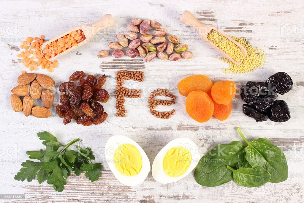 Ingredients and products containing iron and dietary fiber, healthy nutrition stock photo