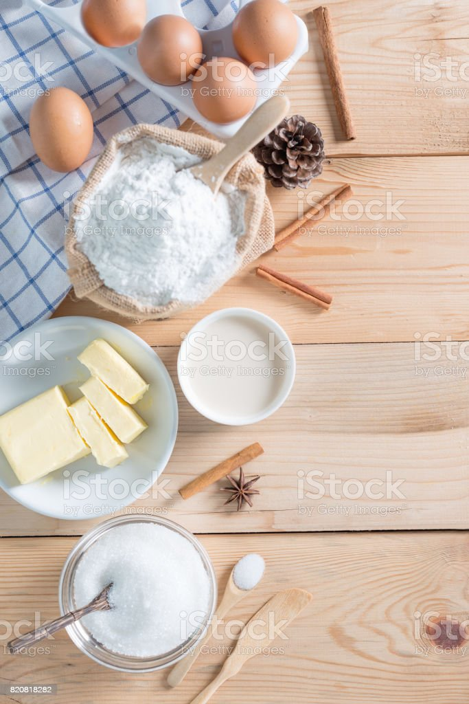Ingredients and tools for homemade baking. stock photo