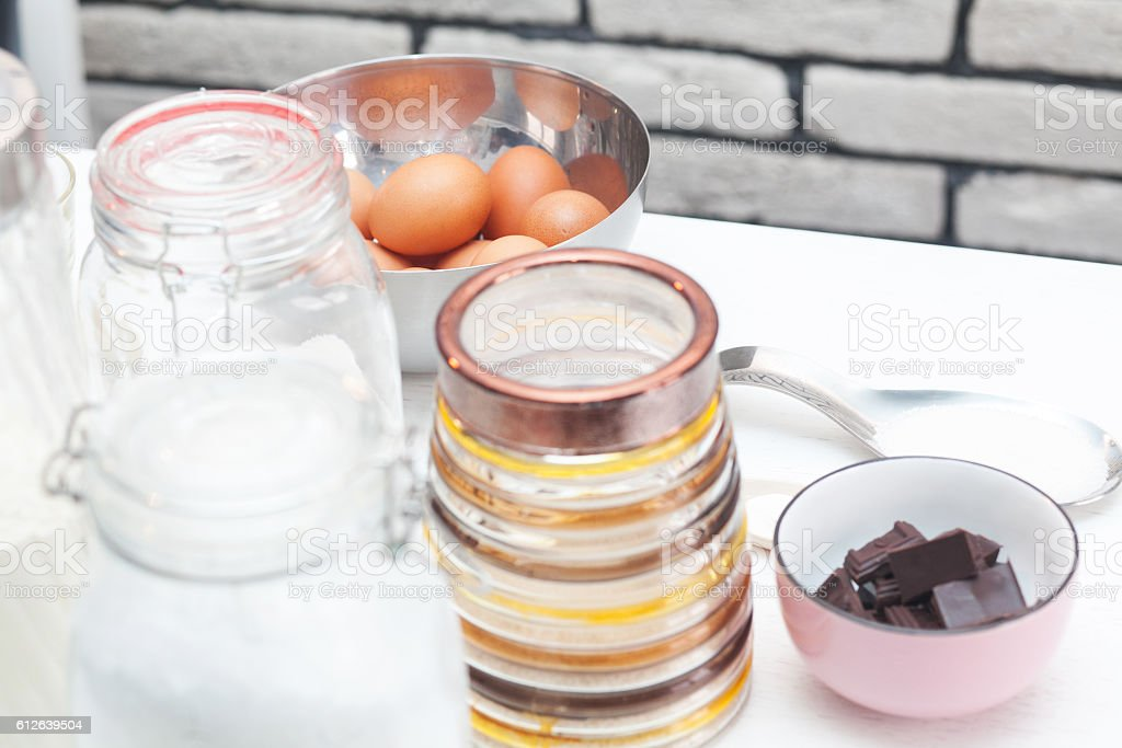 Ingredients and tools to make a cake royalty-free stock photo