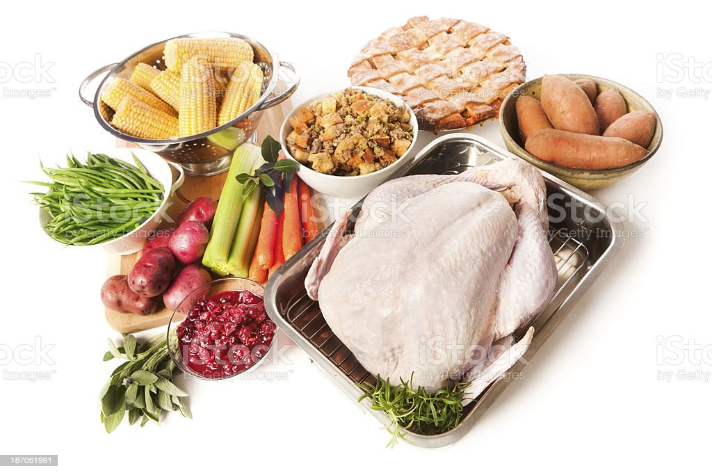 Ingredients and Turkey for Thanksgiving Dinner Preparation on White Background stock photo