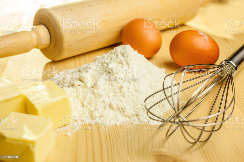 Ingredients and utensils for baking stock photo