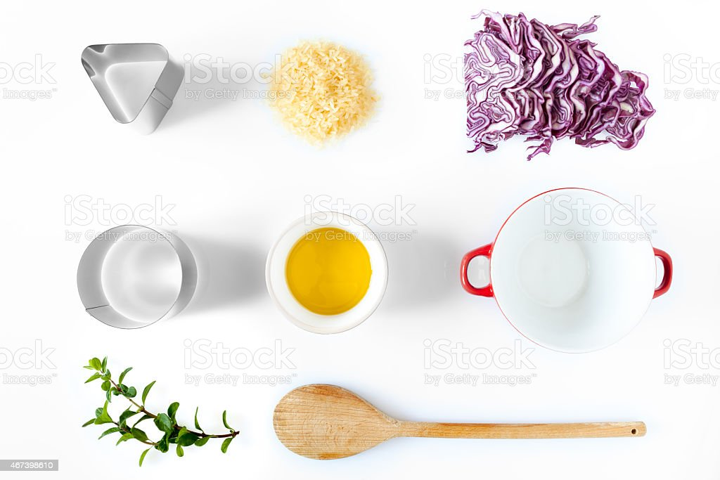 Ingredients And Utensils For Red Cabbage Risotto stock photo
