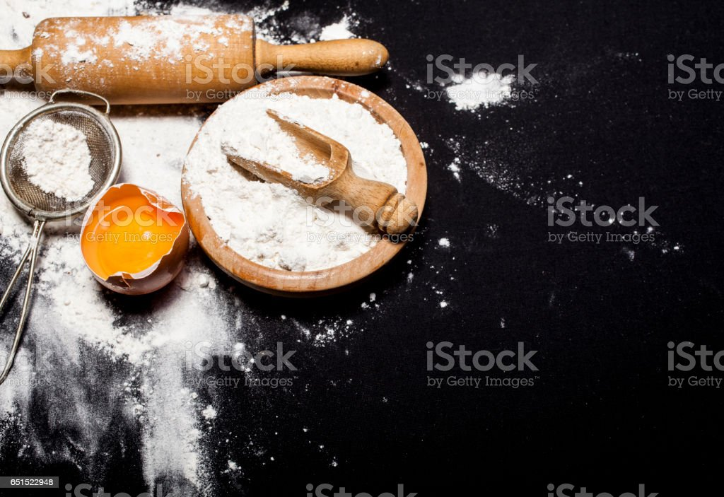 Ingredients and utensils for the preparation of bakery products stock photo