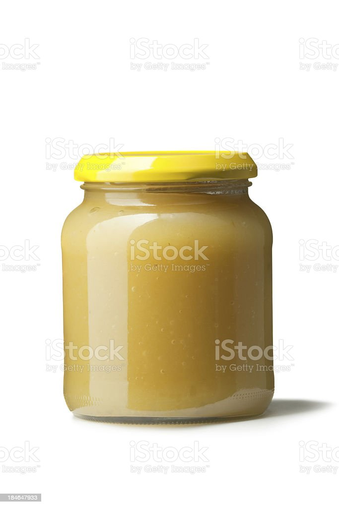 Ingredients: Apple Sauce in Jar royalty-free stock photo
