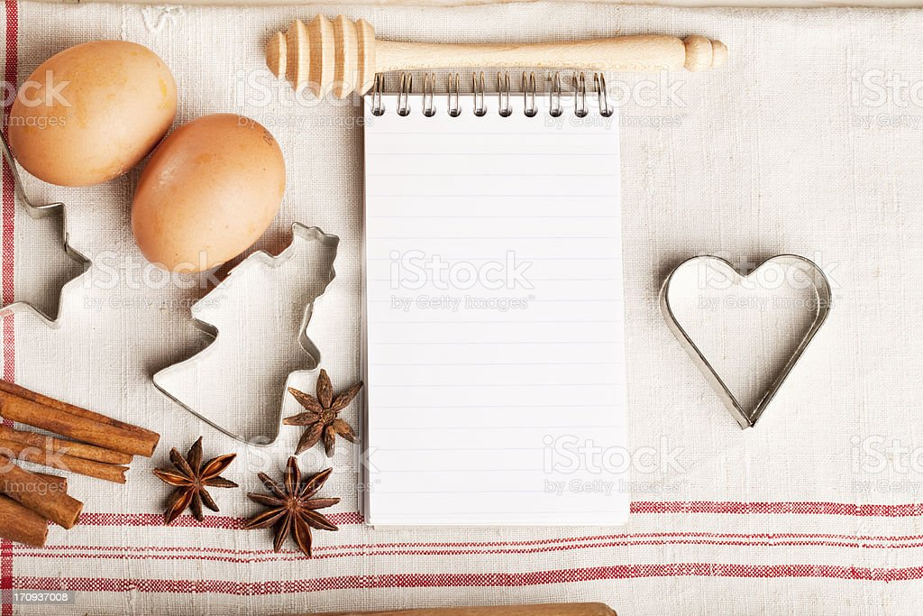 ingredients christmas baking and notebook heart shape royalty-free stock photo