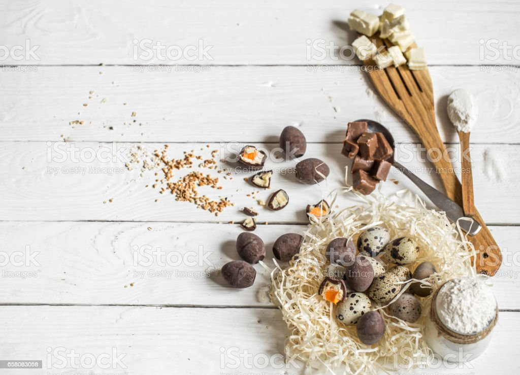 Ingredients Easter and chocolate eggs royalty-free stock photo
