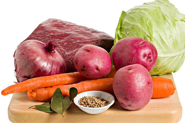ingredients for a corned beef dinner. - st patricks day food stock photos and pictures