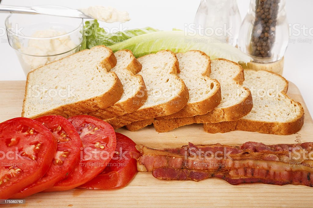 Ingredients for a Fresh BLT Sandwich royalty-free stock photo