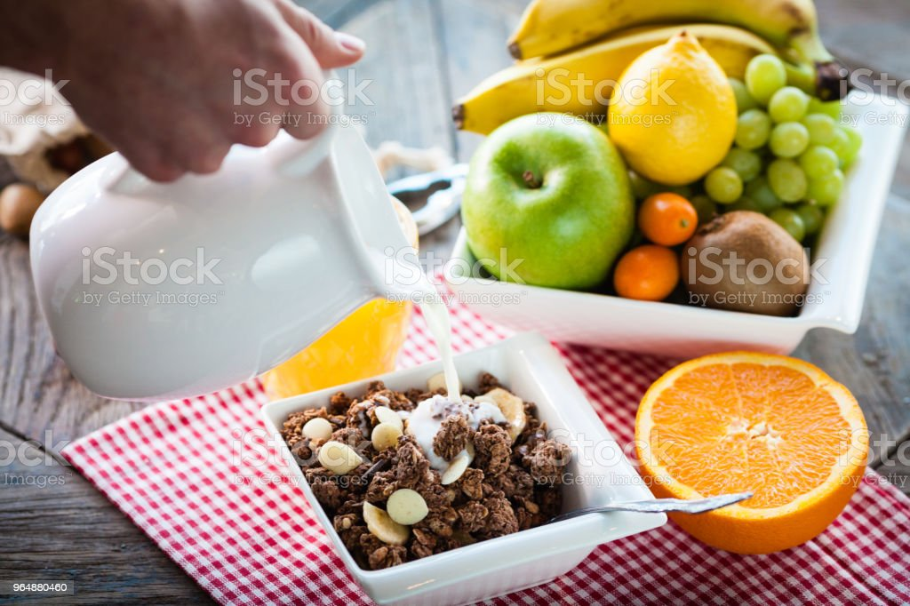 Ingredients for a healthy breakfast royalty-free stock photo