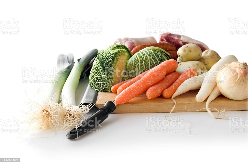 Ingredients for a 'Potée Auvergnate' (stew) royalty-free stock photo