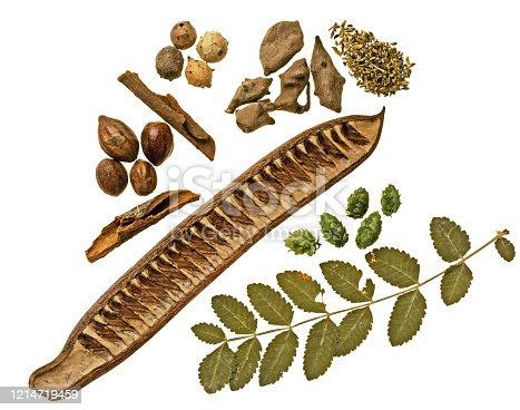 Ingredients for alternative medecine isolated on white background