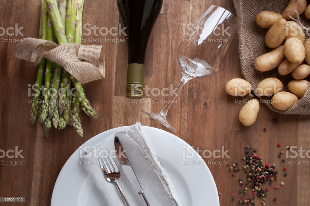 Ingredients for an asparagus eating stock photo