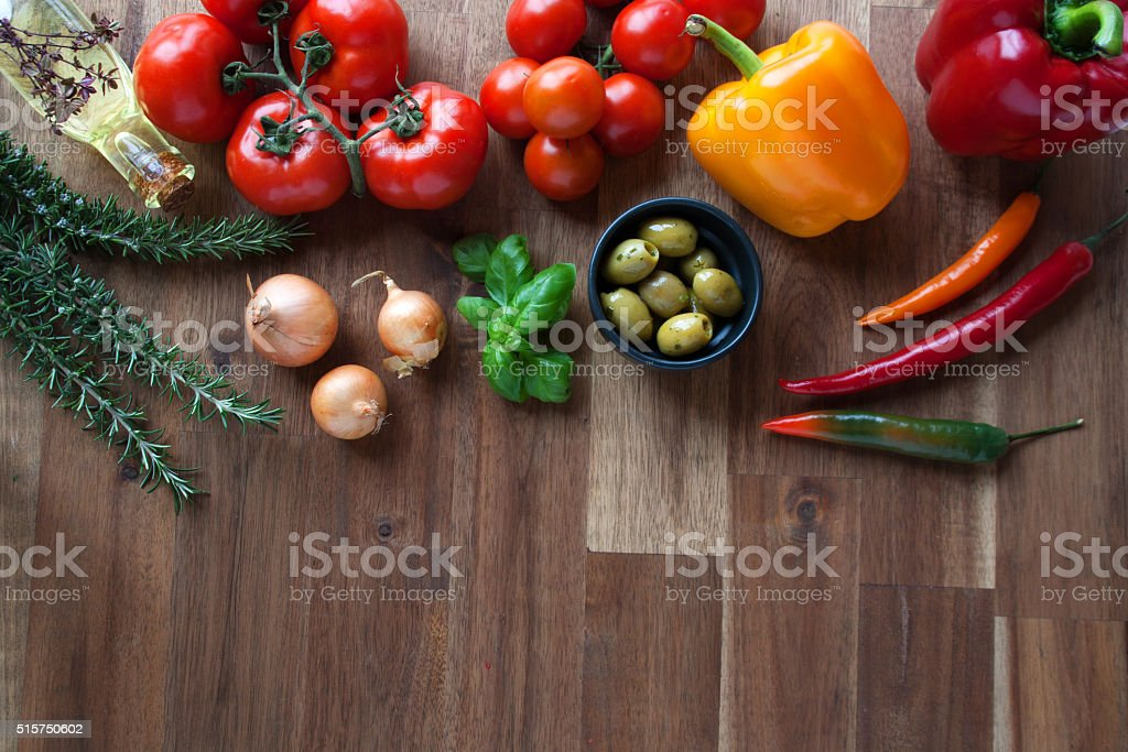 Ingredients for an Italian meal stock photo