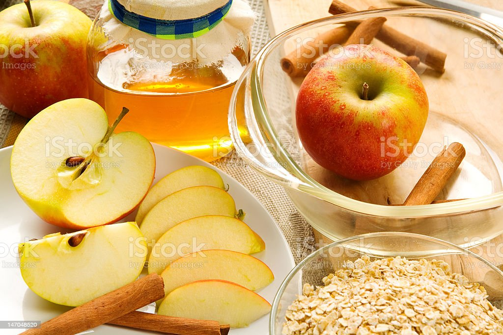 Ingredients for apple crumble stock photo