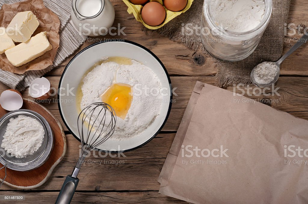 Ingredients for bakery products stock photo