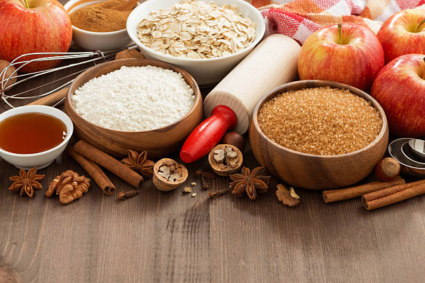 ingredients for baking cake on a wooden background, horizontal stock photo