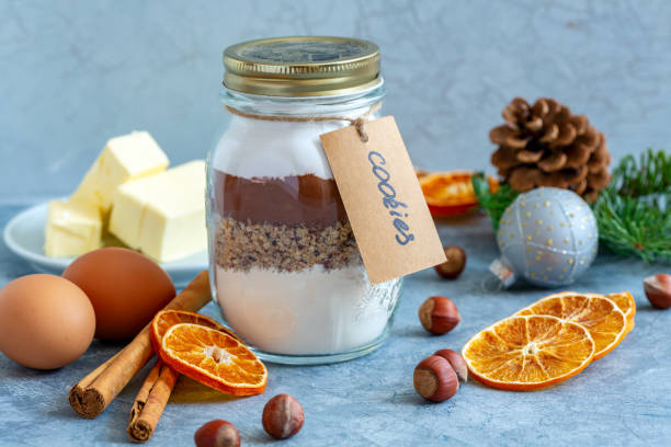 Ingredients for baking Christmas cookies. stock photo