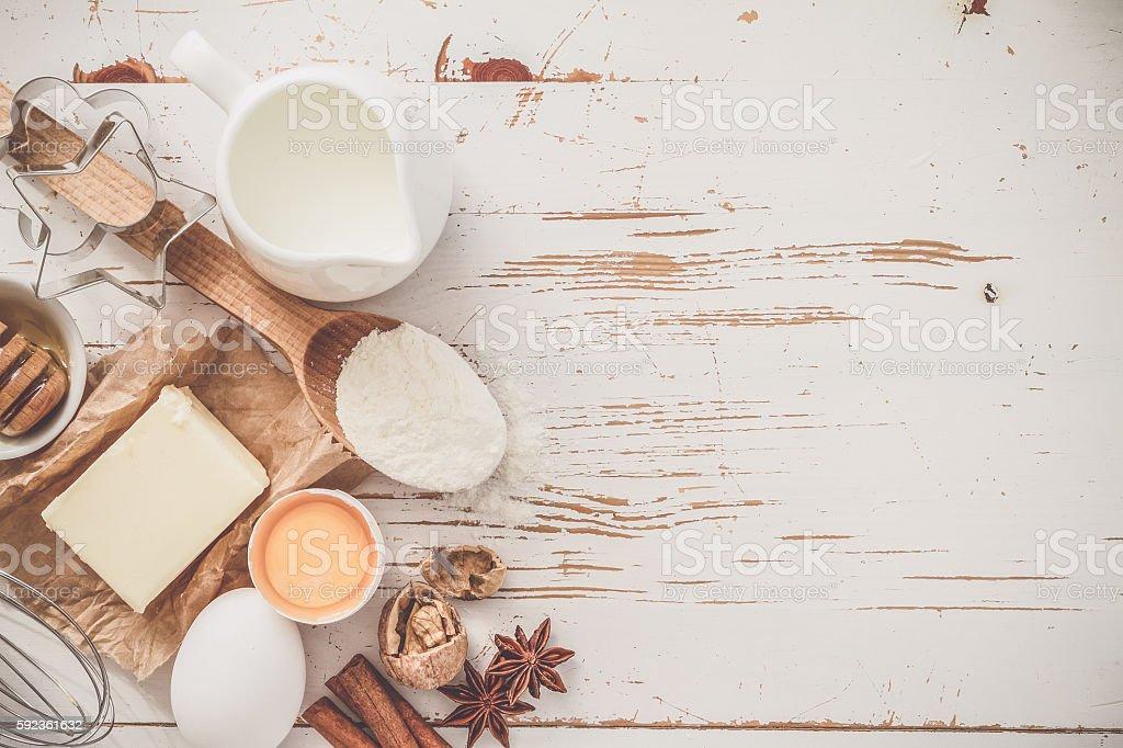 Ingredients for baking - milk, butter, eggs, flour, wheat stock photo