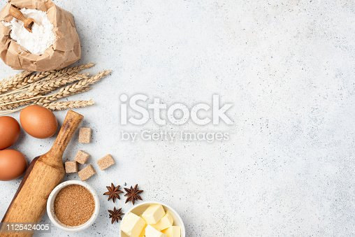 istock Ingredients for baking on background 1125424005