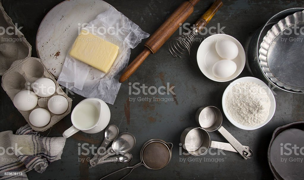 Ingredients for baking pie. With copy space stock photo