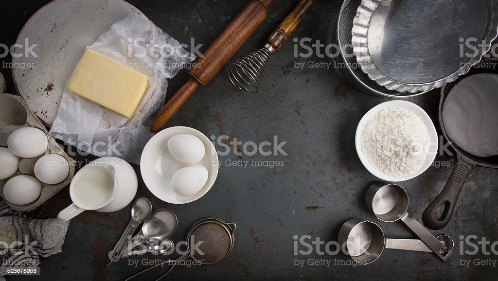 Ingredientes para assar pie com espaço para texto - foto de acervo