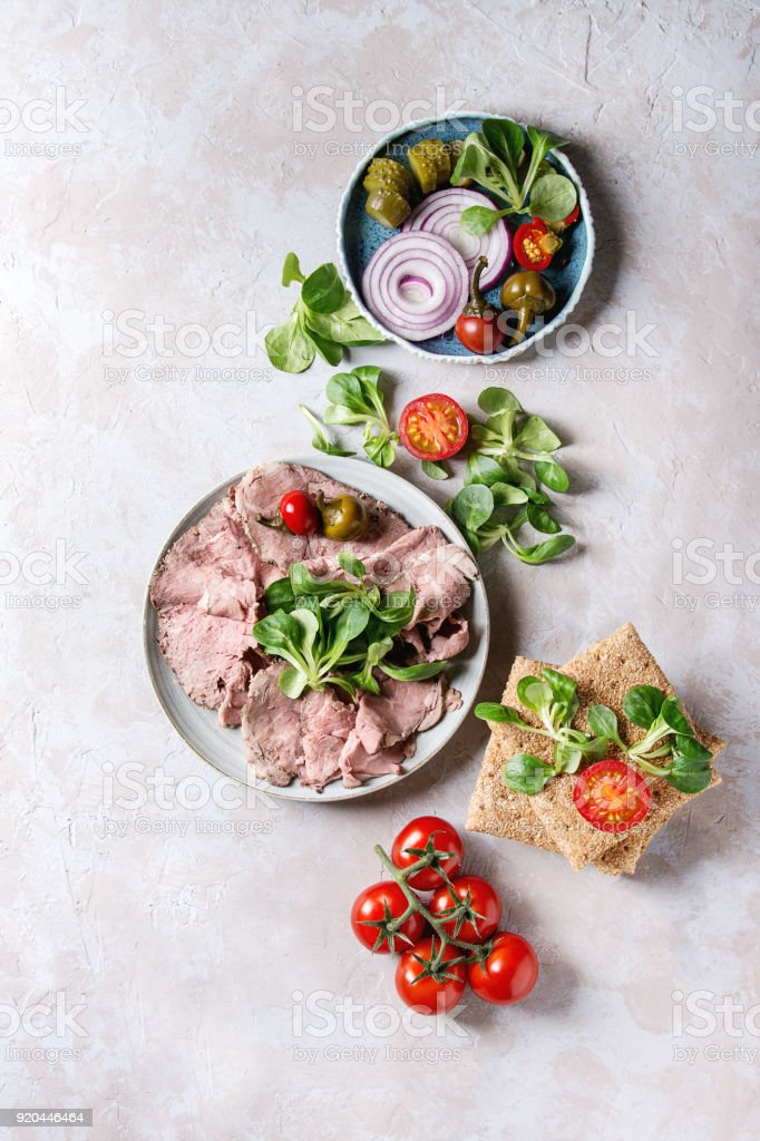 Ingredients for beef sandwiches stock photo