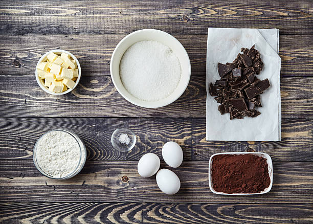 Ingredients for brownies on classic recipe - foto de acervo
