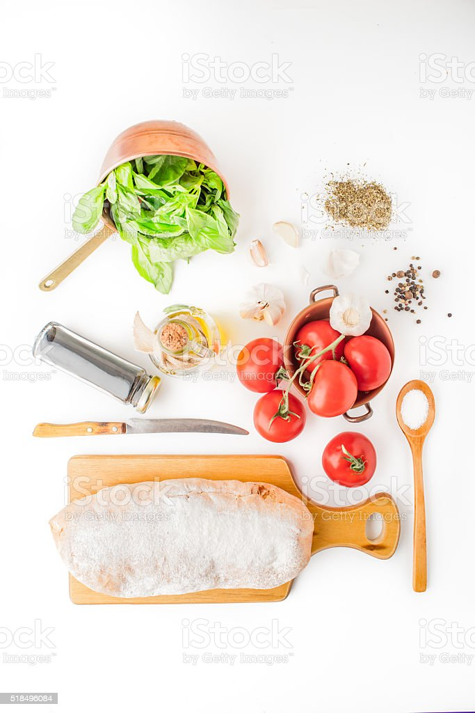 Ingredients for  bruschetta on the white background stock photo