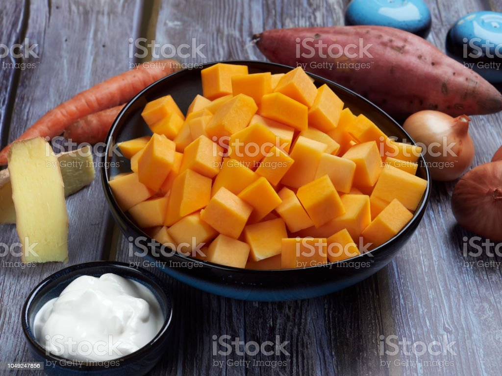 Ingredients for butternut squash soup stock photo
