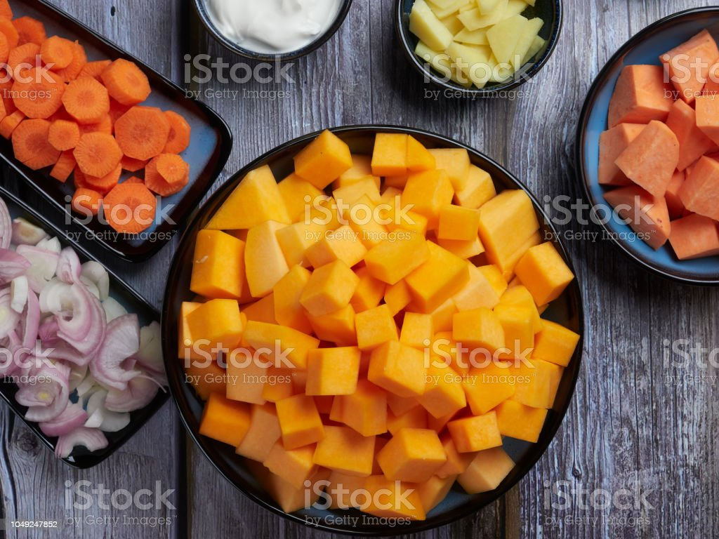 Ingredients for butternut squash soup, top view stock photo