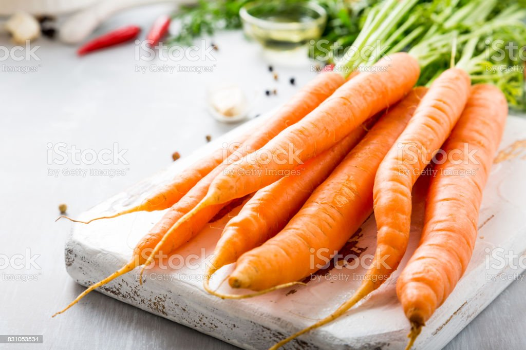 Ingredients for carrot soup stock photo