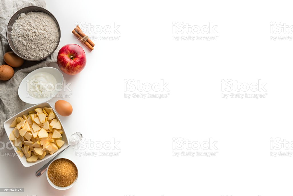 ingredients for Charlotte stock photo