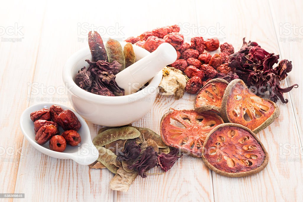 Ingredients for Chinese herbal soup stock photo