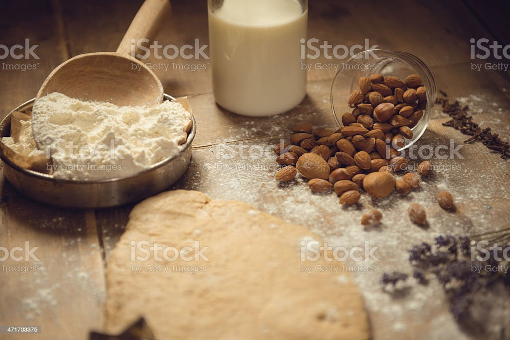 Ingredients for cookie dough stock photo