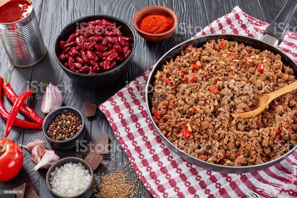 칠리 콘 카 르네 요리 재료 - 로열티 프리 건강한 식생활 스톡 사진