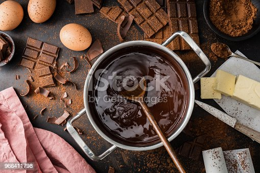 istock Ingredients for cooking chocolate pastry from above 966411798