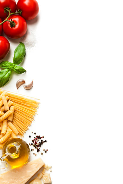 ingredients for cooking italian pasta border - italian food stock photos and pictures