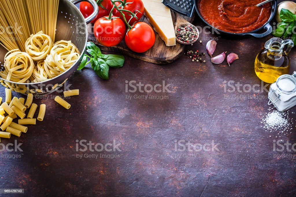 Ingredients for cooking Italian pasta frame royalty-free stock photo