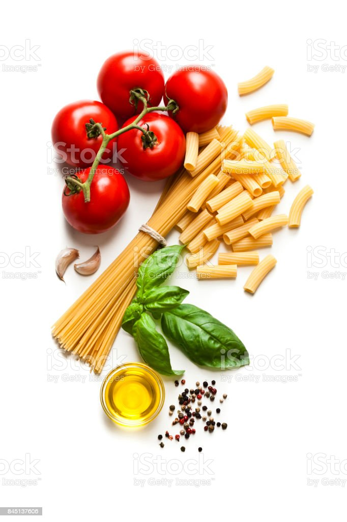 Ingredients for cooking Italian pasta stock photo
