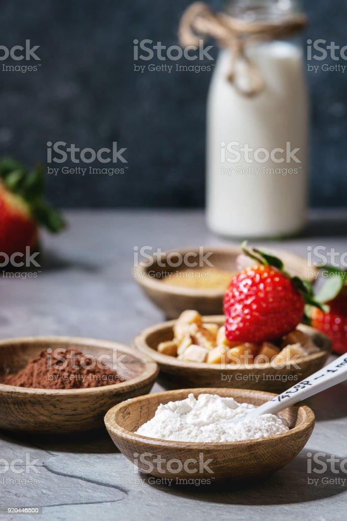 Ingredients for cooking mug cake stock photo