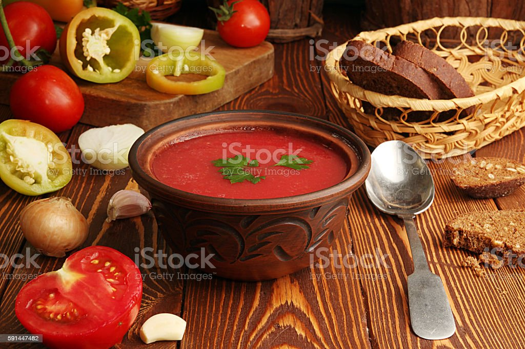 Ingredients for cooking of tomato soup. Gazpacho stock photo