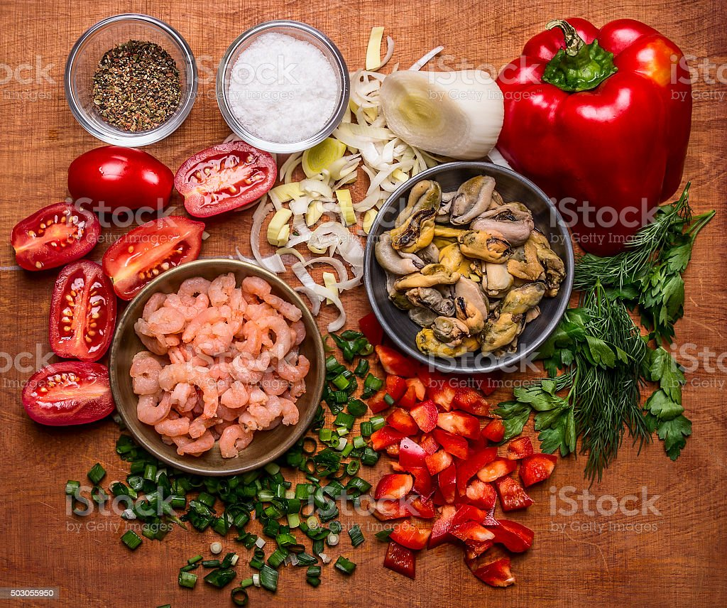ingredients for cooking seafood shrimp mussels  close up top view stock photo
