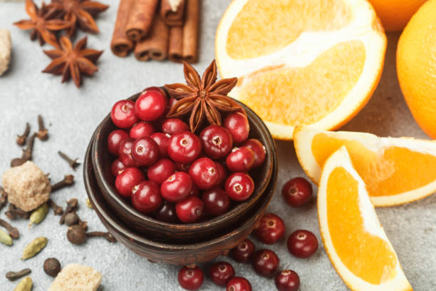 Ingredients for cooking traditional spicy winter drinks - cranberry, citrus, cinnamon, cardamom, star anise, cloves, pepper. Non-alcoholic mulled wine. Punch. The compote. Morse stock photo